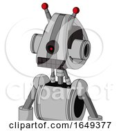White Automaton With Droid Head And Keyboard Mouth And Black Cyclops Eye And Double Led Antenna