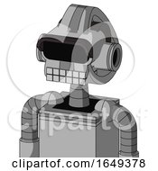 White Automaton With Droid Head And Keyboard Mouth And Black Visor Eye
