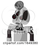 White Automaton With Droid Head And Round Mouth And Three Eyed And Radar Dish Hat