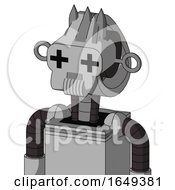 White Automaton With Droid Head And Speakers Mouth And Plus Sign Eyes And Three Spiked