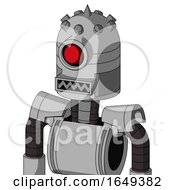White Automaton With Dome Head And Square Mouth And Cyclops Eye And Spike Tip