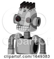 White Automaton With Dome Head And Keyboard Mouth And Red Eyed And Pipe Hair