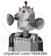 White Automaton With Dome Head And Sad Mouth And Angry Eyes And Single Led Antenna
