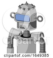 White Automaton With Dome Head And Sad Mouth And Large Blue Visor Eye And Spike Tip