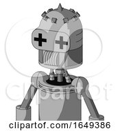 White Automaton With Dome Head And Speakers Mouth And Plus Sign Eyes And Spike Tip