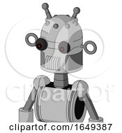 White Automaton With Dome Head And Speakers Mouth And Red Eyed And Double Antenna