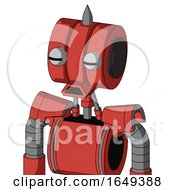Tomato Red Droid With Multi Toroid Head And Sad Mouth And Two Eyes And Spike Tip