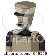Tan Robot With Cylinder Conic Head And Round Mouth And Black Visor Cyclops