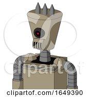 Tan Robot With Cylinder Conic Head And Speakers Mouth And Black Cyclops Eye And Three Spiked