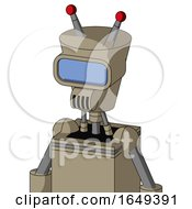 Tan Robot With Cylinder Conic Head And Speakers Mouth And Large Blue Visor Eye And Double Led Antenna