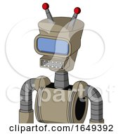 Tan Robot With Cylinder Conic Head And Square Mouth And Large Blue Visor Eye And Double Led Antenna