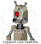 Tan Robot With Dome Head And Keyboard Mouth And Cyclops Eye And Double Antenna