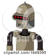 Tan Robot With Dome Head And Speakers Mouth And Visor Eye And Spike Tip