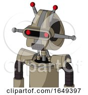 Tan Robot With Droid Head And Dark Tooth Mouth And Visor Eye And Double Led Antenna
