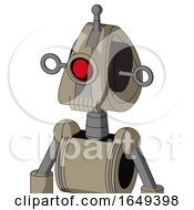 Tan Robot With Droid Head And Toothy Mouth And Cyclops Eye And Single Antenna