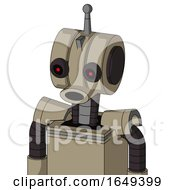 Tan Robot With Multi Toroid Head And Round Mouth And Black Glowing Red Eyes And Single Antenna