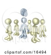 One Silver Person In A Group Of Gold People Thinking Up A Creative Idea With Gears Over His Head Clipart Illustration Graphic by 3poD