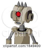 Tan Robot With Multi Toroid Head And Round Mouth And Cyclops Eye And Three Spiked
