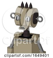 Tan Robot With Multi Toroid Head And Sad Mouth And Two Eyes And Three Dark Spikes