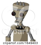 Tan Robot With Vase Head And Sad Mouth And Red Eyed And Three Spiked