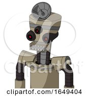 Tan Robot With Vase Head And Square Mouth And Three Eyed And Radar Dish Hat