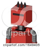 Tomato Red Droid With Box Head And Black Visor Cyclops And Three Dark Spikes