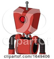 Tomato Red Droid With Box Head And Cyclops Eye And Single Antenna