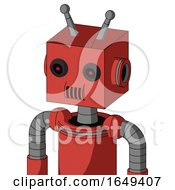 Tomato Red Droid With Box Head And Speakers Mouth And Black Glowing Red Eyes And Double Antenna
