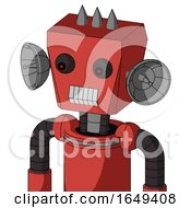 Tomato Red Droid With Box Head And Teeth Mouth And Red Eyed And Three Spiked