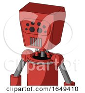 Tomato Red Droid With Box Head And Vent Mouth And Bug Eyes