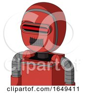 Tomato Red Droid With Bubble Head And Dark Tooth Mouth And Visor Eye