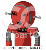 Tomato Red Droid With Bubble Head And Round Mouth And Angry Eyes
