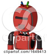 Tomato Red Droid With Bubble Head And Vent Mouth And Black Visor Cyclops And Wire Hair