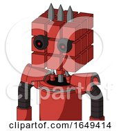 Tomato Red Droid With Cube Head And Black Glowing Red Eyes And Three Spiked