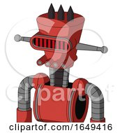 Tomato Red Droid With Cylinder Conic Head And Pipes Mouth And Visor Eye And Three Dark Spikes