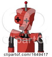 Tomato Red Droid With Cylinder Conic Head And Speakers Mouth And Plus Sign Eyes And Single Led Antenna