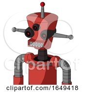 Tomato Red Droid With Cylinder Conic Head And Square Mouth And Three Eyed And Single Led Antenna