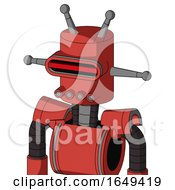 Tomato Red Droid With Cylinder Head And Pipes Mouth And Visor Eye And Double Antenna
