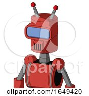 Tomato Red Droid With Cylinder Head And Speakers Mouth And Large Blue Visor Eye And Double Led Antenna