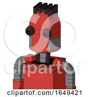Tomato Red Droid With Dome Head And Red Eyed And Pipe Hair