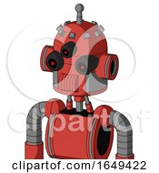 Tomato Red Droid With Dome Head And Speakers Mouth And Three Eyed And Single Antenna