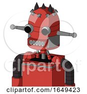Tomato Red Droid With Dome Head And Square Mouth And Two Eyes And Three Dark Spikes