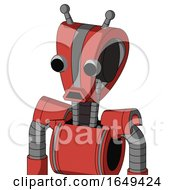 Tomato Red Droid With Droid Head And Sad Mouth And Two Eyes And Double Antenna
