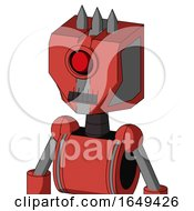 Tomato Red Droid With Mechanical Head And Dark Tooth Mouth And Cyclops Eye And Three Spiked