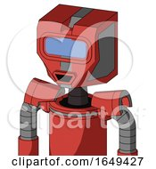 Tomato Red Droid With Mechanical Head And Happy Mouth And Large Blue Visor Eye