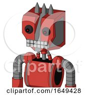 Tomato Red Droid With Mechanical Head And Keyboard Mouth And Red Eyed And Three Spiked