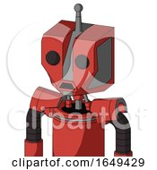 Tomato Red Droid With Mechanical Head And Sad Mouth And Two Eyes And Single Antenna
