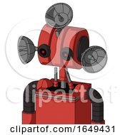 Tomato Red Droid With Multi Toroid Head And Black Glowing Red Eyes And Radar Dish Hat