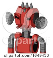 Tomato Red Droid With Multi Toroid Head And Pipes Mouth And Angry Eyes And Three Spiked