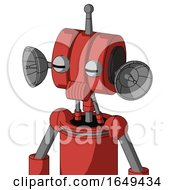 Tomato Red Droid With Multi Toroid Head And Speakers Mouth And Two Eyes And Single Antenna